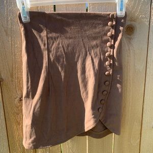 NWT JAASE | LV Brown Suede Side Button Skirt